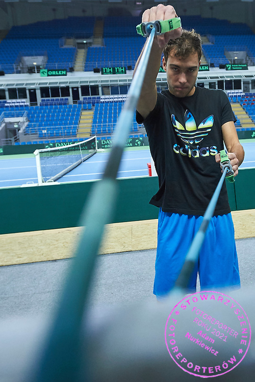 Jerzy Janowicz of Poland in action during training session three days before the Davies Cup / Group I Europe / Africa 1st round tennis match between Poland and Lithuania at Orlen Arena on March 3, 2015 in Plock, Poland<br /> Poland, Plock, March 3, 2015<br /> <br /> Picture also available in RAW (NEF) or TIFF format on special request.<br /> <br /> For editorial use only. Any commercial or promotional use requires permission.<br /> <br /> Mandatory credit:<br /> Photo by &copy; Adam Nurkiewicz / Mediasport