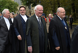 © Licensed to London News Pictures. 18/10/2015. York, UK. Peter Lawrence, father of the missing York University chef Claudia Lawrence, joins senior judges and members of the legal profession in northern England as they gather for the annual Legal Service Parade and service at York Minster marking the start of the Legal Year. Photo credit : Anna Gowthorpe/LNP