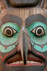 United States, Washington, Seattle, Tlingit Indian totem pole in Pioneer Square
