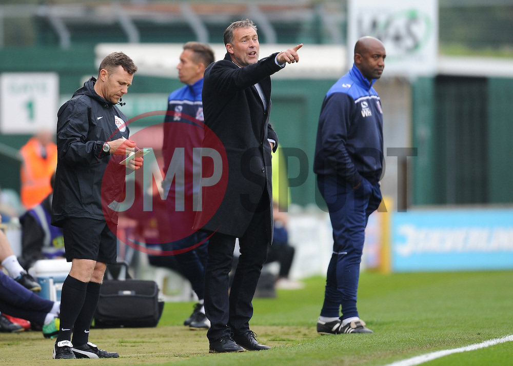 Dagenham & Redbridge manager Wayne Barnett gives orders during the game.  - Mandatory byline: Alex Davidson/JMP - 07966 386802 - 10/10/2015 - FOOTBALL - Huish Park - Yeovil, England - Yeovil v Dagenham - Sky Bet League Two