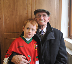 Jim McMamamon with his grandson Rory pictured in Burrischoole club rooms at the Intermediate championship match against Hollymount on saturday evening last.<br /> Pic Conor McKeown
