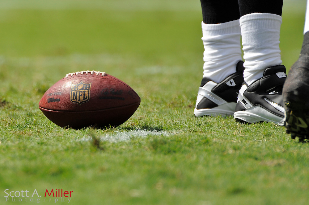 An NFL logo football during the Tampa Bay Buccaneers 18-17 win over the St. Louis Rams at Raymond James Stadium on Oct. 24, 2010 in Tampa, Fla.