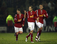 Photo: Rich Eaton.<br /> <br /> Crewe Alexander v Manchester United. Carling Cup. 25/10/2006. luke Varney centre celebrates scoring the equalizer for Crewe