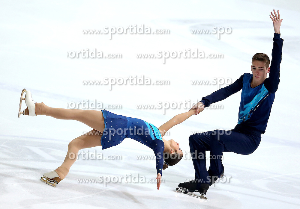 03.12.2015, Dom Sportova, Zagreb, CRO, ISU, Golden Spin of Zagreb, Kurzprogramm, Paare, im Bild Bianca Manacorda - Niccolo Macii, Italy // during the 48th Golden Spin of Zagreb 2015 Pairs Short Program of ISU at the Dom Sportova in Zagreb, Croatia on 2015/12/03. EXPA Pictures &copy; 2015, PhotoCredit: EXPA/ Pixsell/ Igor Kralj<br /> <br /> *****ATTENTION - for AUT, SLO, SUI, SWE, ITA, FRA only*****