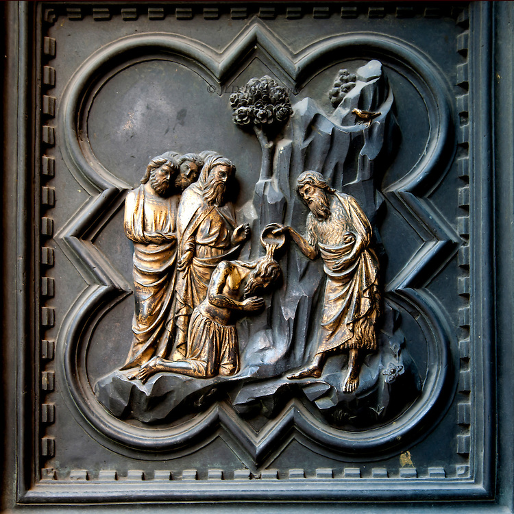 Quatrefoil bronze panel by Andrea Pisano for the south doors of the Florence Baptistry.  1329-36.  St. John baptizing his disciples.