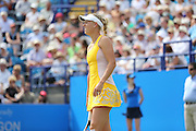 Caroline Wozniacki of Denmark pulls up with an injury during the Semi Final match between Caroline Wozniacki and Belinda Bencic at the Aegon International, Devonshire Park, Eastbourne, United Kingdom on 26 June 2015. Photo by Phil Duncan.