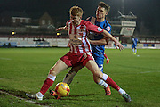 Brad Halliday (Accrington Stanley) and Scott Fenwick (Hartlepool United) during the Sky Bet League 2 match between Accrington Stanley and Hartlepool United at the Fraser Eagle Stadium, Accrington, England on 19 January 2016. Photo by Mark P Doherty.