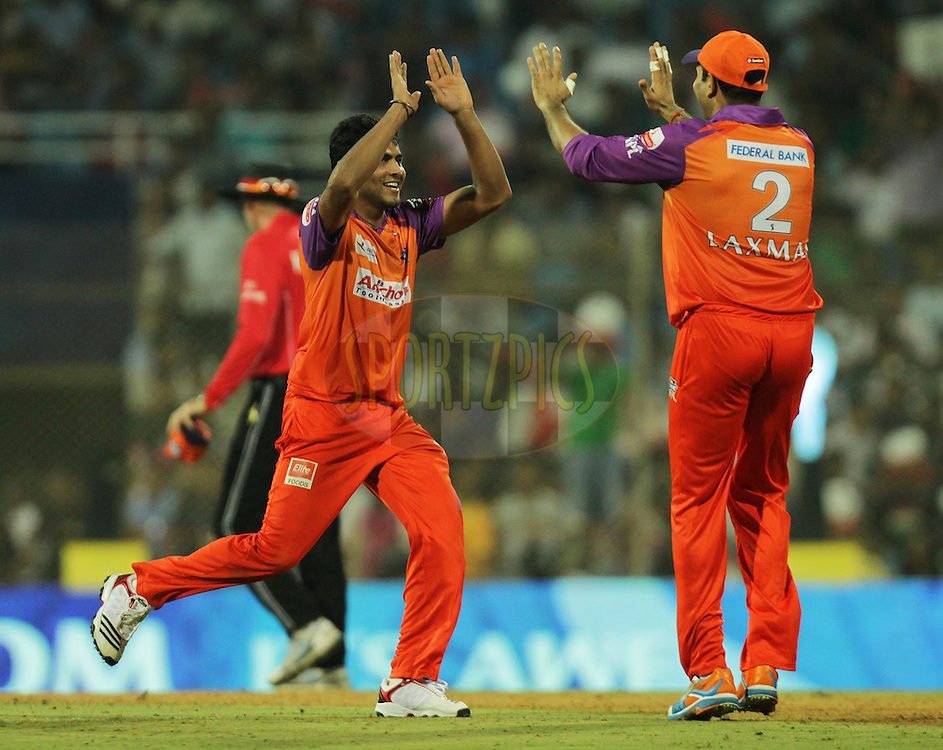 Ravindra Jadeja of Kochi Tuskers Kerala celebrates after running out Pune Warriors player Wayne Parnell during  match 10 of the Indian Premier League ( IPL ) Season 4 between the Pune Warriors and the Kochi Tuskers Kerala held at the Dr DY Patil Sports Academy, Mumbai India on the 13th April 2011..Photo by BCCI/SPORTZPICS