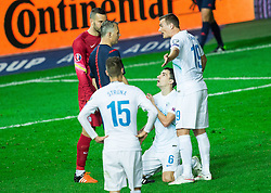 Branko Ilic of Slovenia begging referee Bjoern Kuipers (NED) during the EURO 2016 Qualifier Group E match between Slovenia and Lithuania, on October 9, 2015 in SRC Stozice, Ljubljana Slovenia. Photo by Vid Ponikvar / Sportida