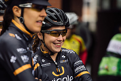 Lucy Garner waits in the drizzle with her Wiggle Hi5 teammates in Tielt - Dwars door Vlaanderen 2016, a 103km road race from Tielt to Waregem, on March 23rd, 2016 in Flanders, Netherlands.