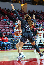 NORMAL, IL - February 27: Lexi Wallen struggles to get a shot up against defender Shameka Ealy during a college women's basketball game between the ISU Redbirds and the Bears of Missouri State February 27 2020 at Redbird Arena in Normal, IL. (Photo by Alan Look)