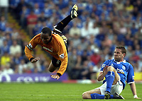 Picture: Henry Browne.<br /> Date: 25/04/2004.<br /> Birmingham City v Wolverhampton Wanderers FA Barclaycard Premiership.<br /> <br /> Paul Ince of Wolves is sent flying by City's Matthew Upson.