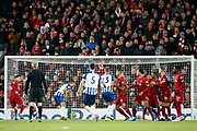Brighton and Hove Albion defender Lewis Dunk (5) scores from the free kick 2-1 during the Premier League match between Liverpool and Brighton and Hove Albion at Anfield, Liverpool, England on 30 November 2019.