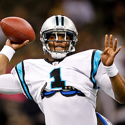 January 1, 2012; New Orleans, LA, USA; Carolina Panthers quarterback Cam Newton (1) warms up prior to kickoff of a game against the New Orleans Saints at the Mercedes-Benz Superdome. Mandatory Credit: Derick E. Hingle-US PRESSWIRE
