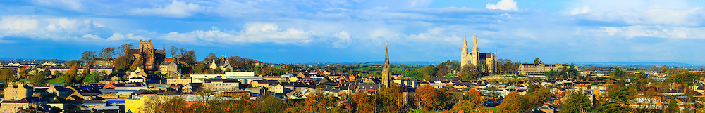 View overlooking Armagh City including from left, St. Patrick's Church of Ireland Cathedral, Armagh First Presbyterian Church, the Mall in the foreground and St. Patrick's Roman Catholic Cathedral; nicely lit by the morning Winter Sun. Image composed of 13 photos at 135mm offering stunning levels of detail.