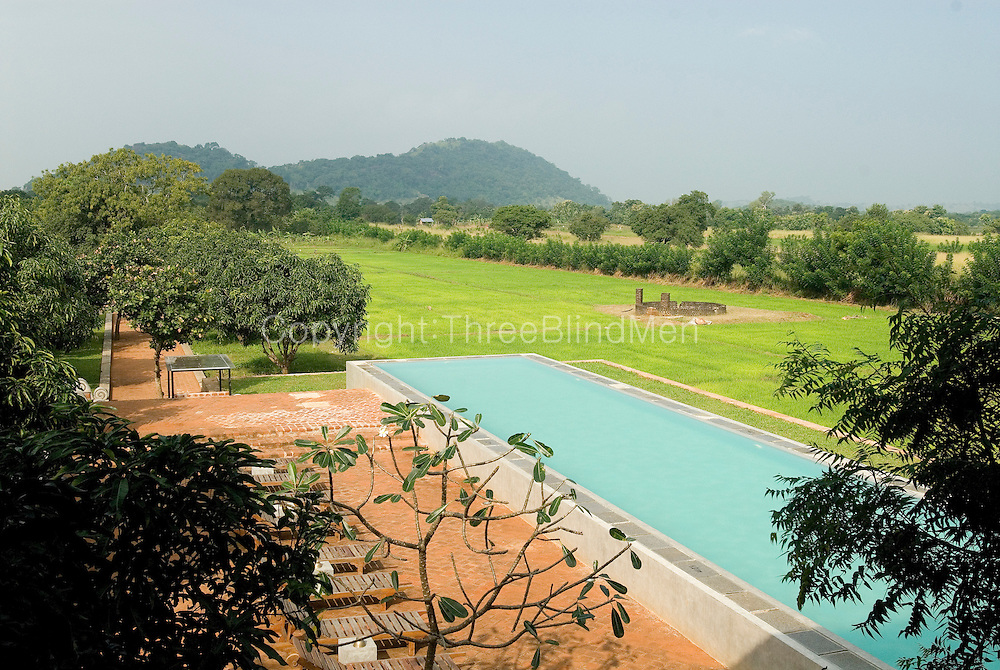 The Thilanka Hotel and Spa in Dambulla. Set amidst a mango plantation and surrounded by paddy fields. The river at the end of the property is a treat.