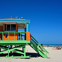 Lifeguard Tower at South Beach in Miami Beach, Florida<br />