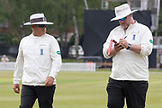 Umpires Ian Backwell & Paul Baldwin during the Specsavers County Champ Div 2 match between Leicestershire County Cricket Club and Durham County Cricket Club at the Fischer County Ground, Grace Road, Leicester, United Kingdom on 9 July 2019.