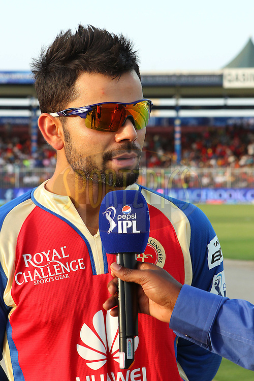 Virat Kohli during match 2 of the Pepsi Indian Premier League Season 7 between the Delhi Daredevils and The Royal Challengers Bangalore held at the Sharjah Cricket Stadium, Sharjah, United Arab Emirates on the 17th April 2014<br /> <br /> Photo by Ron Gaunt / IPL / SPORTZPICS