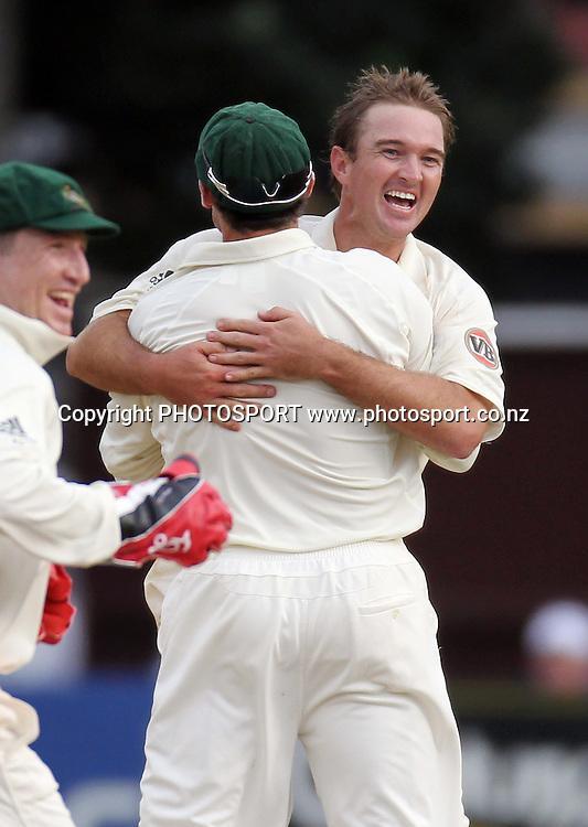 Australian bowler Nathan Hauritz celebrates the dismissal of Tim McIntosh.<br />Test Match Cricket. 1st test. Day 3.<br />New Zealand Black Caps versus Australia. Basin Reserve, Wellington, New Zealand. Sunday 21 March 2010. Photo: Andrew Cornaga/PHOTOSPORT