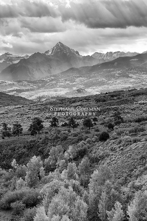 The Mt Sneffels Mountain Range from the Dallas Divide overlook near Ridgway, Colorado