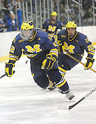 Michigan's Carl Hagelin and Louie Caporusso chase the puck into the offensive zone during the Wolverines Friday night game against the LSSU Lakers at Taffy Abel Arena in Sault Ste. Marie.