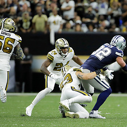Sep 29, 2019; New Orleans, LA, USA; New Orleans Saints outside linebacker A.J. Klein (53) forces a fumble by Dallas Cowboys tight end Jason Witten (82) during the second quarter at the Mercedes-Benz Superdome. Mandatory Credit: Derick E. Hingle-USA TODAY Sports