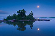 Moon over Lake Superior and Caron Island<br />Rossport<br />Ontario<br />Canada