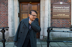 © Licensed to London News Pictures. 09/10/2015. London, UK. Anni Dewani's father Vinod Hindocha  leaving North London Coroner's Court in Barnet, north London where a Coroner ruled there will be no inquest into murdered honeymoon bride Anni Dewani. Photo credit: Ben Cawthra/LNP