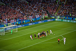 MOSCOW, RUSSIA - Wednesday, July 11, 2018: England's Kieran Trippier scores the first goal during the FIFA World Cup Russia 2018 Semi-Final match between Croatia and England at the Luzhniki Stadium. (Pic by David Rawcliffe/Propaganda)