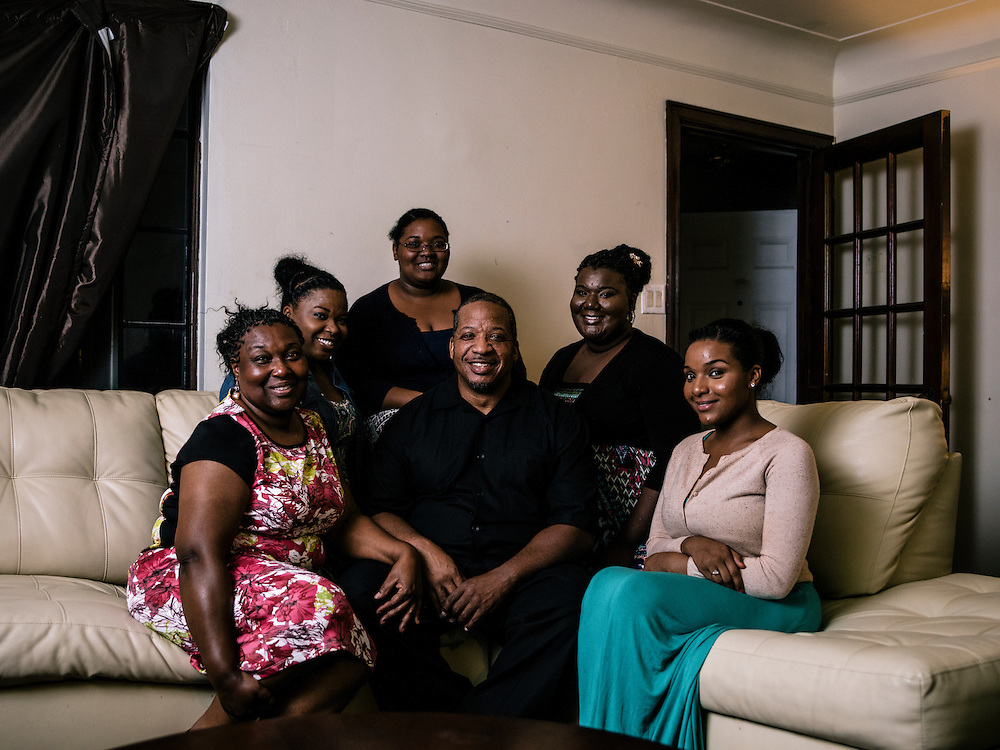 Richard Braceful with his wife, Selena, far left, and daughters, from left Gabrielle, Lydia, Octavia, and Trianna.