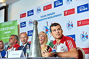 Warsaw, Poland - 2017 October 03: Mateusz Biskup (AZS AWFiS Gdansk) Polish rower M2x speaks during press conference of Polish Rowing National Team at Chopin Airport on October 03, 2017 in Warsaw, Poland.<br /> <br /> Mandatory credit:<br /> Photo by &copy; Adam Nurkiewicz / Mediasport<br /> <br /> Adam Nurkiewicz declares that he has no rights to the image of people at the photographs of his authorship.<br /> <br /> Picture also available in RAW (NEF) or TIFF format on special request.<br /> <br /> Any editorial, commercial or promotional use requires written permission from the author of image.