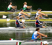 2006 FISA World Cup, Lucerne, SWITZERLAND, 07.07.2006. Women's Double Sculls, GBR W2X, bow, Annie VERNON and Anna BEBINGTON,   Photo  Peter Spurrier/Intersport Images email images@intersport-images.com.[Friday Morning]...[Mandatory Credit Peter Spurrier/Intersport Images... Rowing Course, Lake Rottsee, Lucerne, SWITZERLAND.