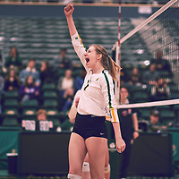 3rd year middle blocker, Emma Matheson (2) of the Regina Cougars during the Women's Volleyball home game on Fri Jan 25 at Centre for Kinesiology, Health & Sport. Credit: Arthur Ward/Arthur Images