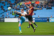 Coventry City forward, on loan from Derby County, Charles Vernam (9) challenges with Bradford City midfielder Romain Vincelot (6)  for the ball during the EFL Sky Bet League 1 match between Coventry City and Bradford City at the Ricoh Arena, Coventry, England on 11 March 2017. Photo by Simon Davies.