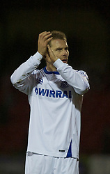 SWINDON, ENGLAND - Tuesday, January 25, 2011: Tranmere Rovers' Ian Thomas-Moore appluds the Tranmere fans after their 0-0 draw with Swindon Town during the Football League One match at the County Ground. (Photo by Gareth Davies/Propaganda)