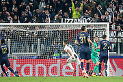 GOAL - Juventus Forward Cristiano Ronaldo pulls away and celebrates 1-0 during the Champions League Group H match between Juventus FC and Manchester United at the Allianz Stadium, Turin, Italy on 7 November 2018.