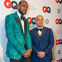 Lebron James with 20 Twenty Marketing & Management President & CEO Paul Rivera posing at the GQ & Lebron James NBA All Star Style party sponsored by Samsung Galaxy on Saturday, February 15, 2014, at the Ogden Museum of Southern Art in New Orleans, Louisiana with live jam session from grammy Award-winning Artist The Roots. Photo Credit: Gustavo Escanelle / Retna Ltd.