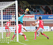Rotherham United's Kelle Roos saves a net bound header from Dundee's James McPake - Dundee v Rotherham United - pre-season friendly at Dens Park <br /> <br />  - &copy; David Young - www.davidyoungphoto.co.uk - email: davidyoungphoto@gmail.com