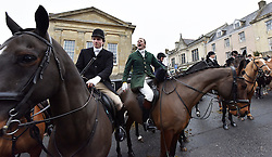 © Licensed to London News Pictures. 26/12/2014. Simon Lawrence gave a speech on the Fox Hunting ban at the Heythrop Hunt on Boxing Day in Chipping Norton Oxfordshire. Photo credit : MARK HEMSWORTH/LNP