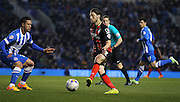 AFC Bournemouth midfielder Harry Arter attacking the goal during the Sky Bet Championship match between Brighton and Hove Albion and Bournemouth at the American Express Community Stadium, Brighton and Hove, England on 10 April 2015. Photo by Phil Duncan.