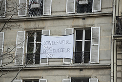 Poster on the front of a building in the 12th arrondissement in Paris, France, on April 03, 2020, during the covid-19 emergency lockdown. Photo by Pierrick Villette/Avenir Pictures/ABACAPRESS.COM