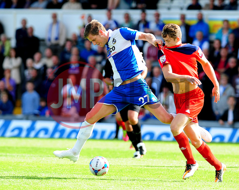 Bristol Rovers' Adam Cunnington is challenged by AFC Telford's Neill Byrne - Photo mandatory by-line: Neil Brookman - Mobile: 07966 386802 23/08/2014 - SPORT - FOOTBALL - Bristol - Memorial Stadium - Bristol Rovers v AFC Telford - Vanarama Football Conference