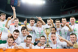 Players of Krka celebrate after winning the basketball match between KK Krka and KK Union Olimpija in 4th Final match of Telemach League 2012/13 on May 20, 2013 in Arena Stozice, Ljubljana, Slovenia. Krka defeated Union Olimpija third times and become Slovenian Champions 2013. (Photo By Vid Ponikvar / Sportida)