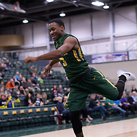1st year guard Johneil Johnson (3) of the Regina Cougars during the 5th year night on February  11 at Centre for Kinesiology, Health and Sport. Credit: Arthur Ward/Arthur Images