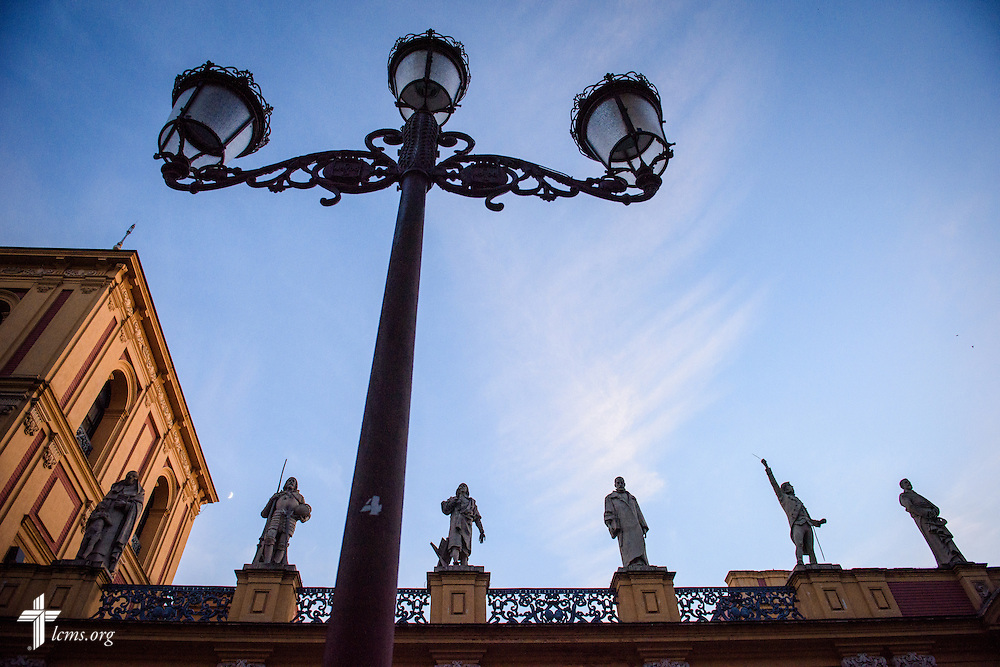 Stonework and statues at the Palace of San Telmo at sunset on Sunday, Nov. 6, 2016, in Seville, Spain.  LCMS Communications/Erik M. Lunsford