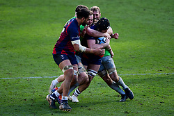 Ed Holmes of Bristol Bears is challenged by Harlequins - Mandatory by-line: Ryan Hiscott/JMP - 08/03/2020 - RUGBY - Ashton Gate - Bristol, England - Bristol Bears v Harlequins - Gallagher Premiership Rugby