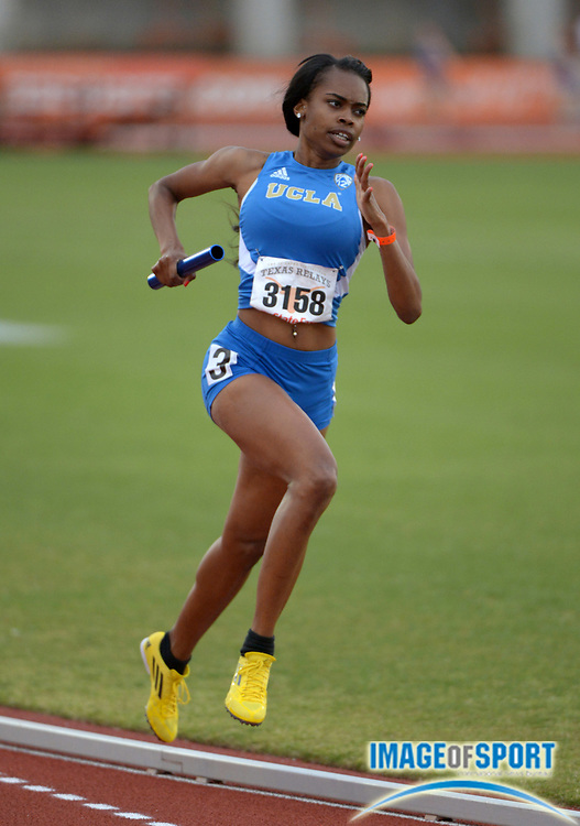 Mar 28, 2013; Austin, TX, USA; Tiffany LaMar runs the third leg on the UCLA womens 4 x 800m relay that placed fifth in 8:59.53 in the 86th Clyde Littlefield Texas Relays at Mike A. Myers Stadium.