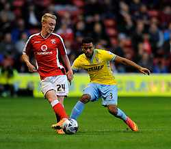 Crystal Palace's Adrian Mariappa closes down Walsall's Ashley Grimes - Photo mandatory by-line: Dougie Allward/JMP - Mobile: 07966 386802 26/08/2014 - SPORT - FOOTBALL - Walsall - Bescot Stadium - Walsall v Crystal Palace - Capital One Cup
