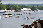 Henley on Thames, England, United Kingdom, Sunday, 07.07.19, Leander Club A<br /> and <br /> Henley Rowing Club A, passing the Enclosures, in the Final, of the Fawley Challenge Cup, Henley Royal Regatta,  Henley Reach, [©Karon PHILLIPS/Intersport Images]<br /> <br /> 11:56:43 1919 - 2019, Royal Henley Peace Regatta Centenary,